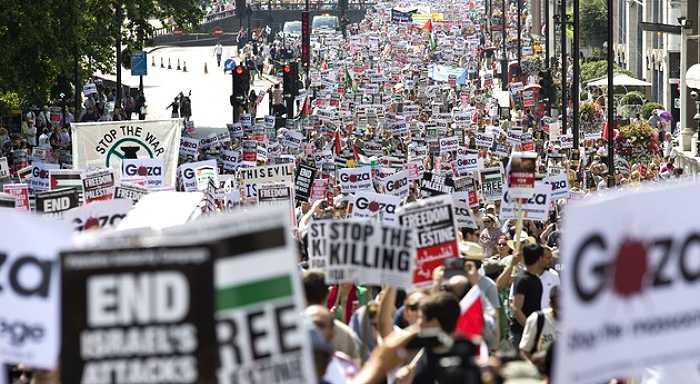 Londres: Una marea de banderas palestinas recorrió las calles