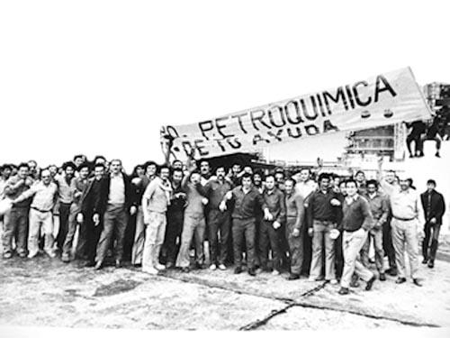 Manifestation de la petrochimie en juin juillet 1975